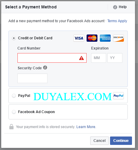 add visa or mastercard to facebook