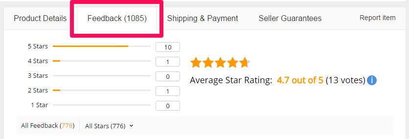 Đánh giá sản phẩm trên Aliexpress