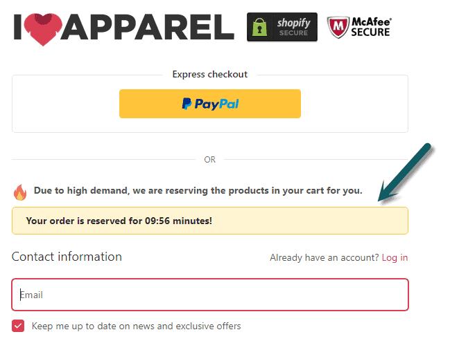 Đồng hồ đếm ngược trong trang thanh toán